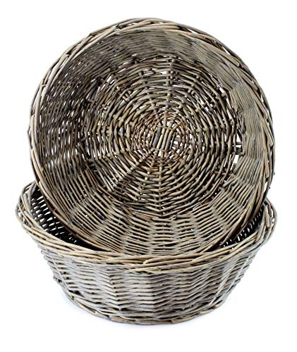 AuldHome Round Bread Baskets (Gray-Washed, 2-Pack), Farmhouse Rustic Woven Wicker Round Basket for Kitchen, Home and Storage