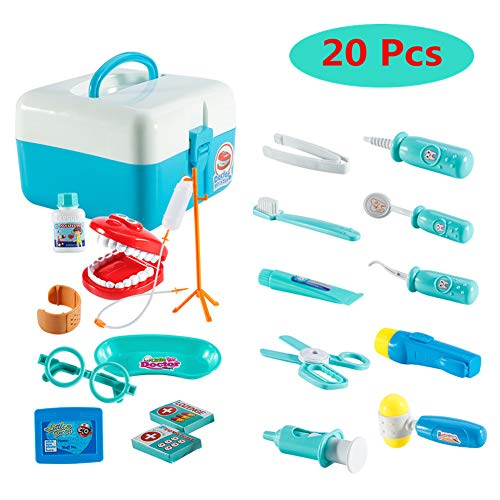 FunsLane Dentist Toy Doctor Kit for Kids, 20 Pcs Pretend Play Dentist Tools Medical Set for Toddlers Costume Role Play, School Classroom Educational Toy, Blue