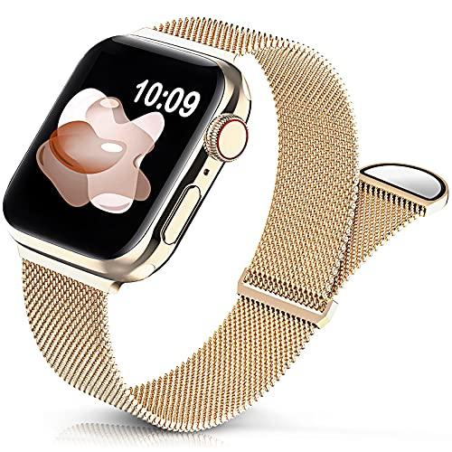 Jiamus Metall Armband Kompatibel mit Apple Watch Armband 38mm 40mm 42mm 44mm,Klassisches Prämie Edelstahl Metall Mesh Armband mit Magnet kompatibel mit iWatch Series 6 5 4 3 2 SE Damen Herren(38/40mm)
