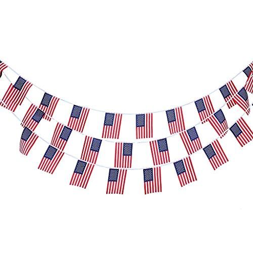 REFURBISHHOUSE 10m 30 Stueck Amerikanische Flagge String Bunting Flag Garland Hausgarten Dekoration