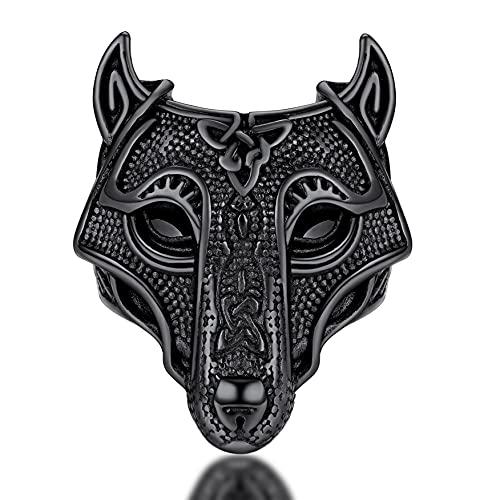 FaithHeart Anillo Ancho de Mitología Nórdica Talla 9 Cabeza Lobo Odin Trinidad Valknut Anillo Negro Hombre Acero Inoxidable 316L Joyería Vintage Amuleto Protección