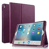 BoriYuan iPad Pro 10.5対応ケース ヴィンテージ風 本革ケース スリムフォリオスタンドカバー Apple iPad Pro 10.5インチ用 複数の視聴角度 自動スリープ/スリープ解除機能 カードスロット付き パープル B-IPAD10.5-ZPPW