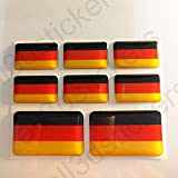 All3DStickers Aufkleber Deutschland Flagge 8 x Flaggen von Deutschland Rechteckig 3D Kfz-Aufkleber Gedomt Fahne