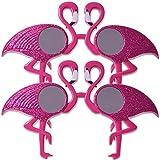 TE-Trend 2 Piezas Flamingo Máscara Gafas Gafas de Sol Brillante Traje Gafas Fiesta Gafas Divertidas Revestimiento Carnaval UV400 Rosa