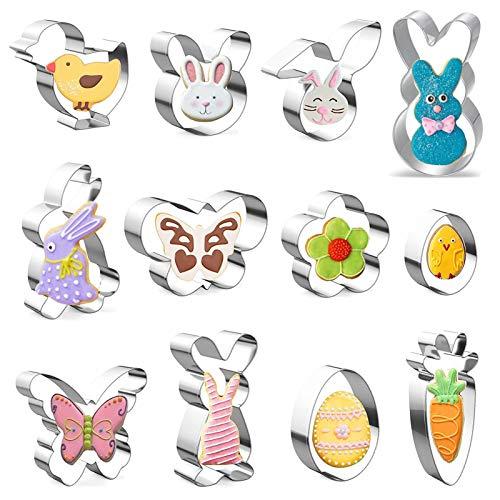 KOHMUI Moldes para galletas de Pascua, 12 moldes de Pascua, juego con...