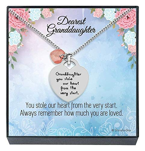 Granddaughter Jewelry Necklace Gifts - ''Granddaughter You Stole Our Heart'' Keepsake Heart Necklace silver
