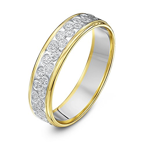Theia Unisex 9 ct White and Yellow Gold Heavy Flat Diamond Cut 5 mm Wedding Ring, Size H