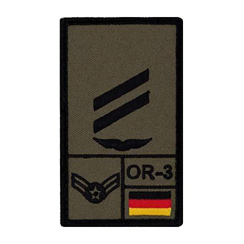 Café Viereck ® Obergefreiter Luftwaffe Bundeswehr Rank Patch mit Dienstgrad - Gestickt mit Klett – 9,8 cm x 5,6 cm (Oliv)