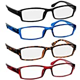 Reading Glasses 1.0 Black Tortoise Red Blue Readers for Men & Women - Spring Arms & Dura-Tight Screws Have a Stylish Look and Crystal Clear Vision When You Need It!