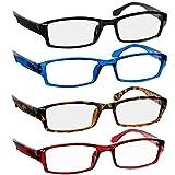 Reading Glasses - 9501HP - 4 pk - Black Tortoise Red Blue -1.00