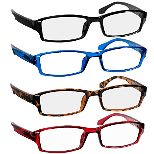 Reading Glasses 1.75 Black Tortoise Red Blue Readers for Men & Women - Spring Arms & Dura-Tight Screws Have a Stylish Look and Crystal Clear Vision When You Need It!