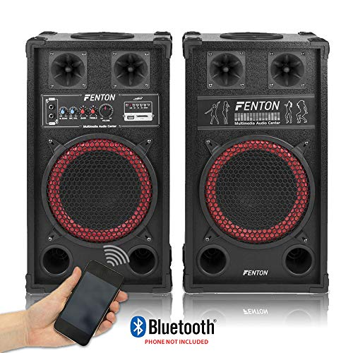 Fenton SPB 10' Pair Powered Bluetooth Disco Party Speakers with USB MP3...