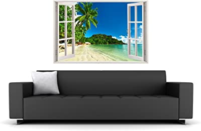 Paper Plane Design 'Ocean Beach Palm Tree Vivid View' Wall Sticker (90 cm x 0.1 cm x 60 cm)