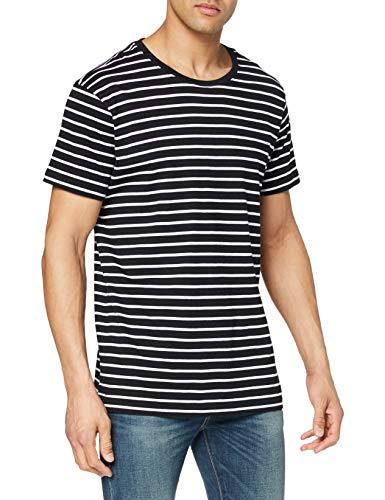 Urban Classics TB1571 Herren T-Shirt Striped Tee Mehrfarbig (Blk/Wht 50), X-Large