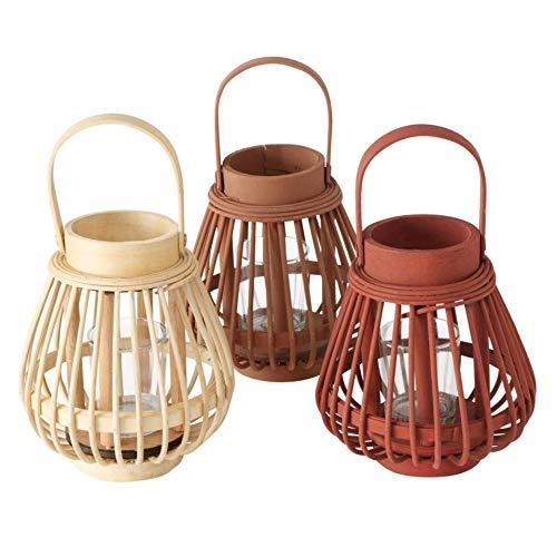 Bambus Laternen 3er Set farblich Sortiert H16cm D14cm braun Natur Terracotta