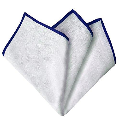 BRUCLE fazzoletto da taschino pochette uomo in lino, made in Italy. Colore bianco con bordo blu.
