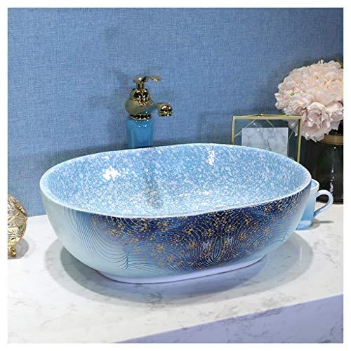 BATHYJ Waschbecken, Keramik, Blue Mediterrane Stil Waschbecken über Waschbecken (Farbe : D, größe : Only a washbasin)