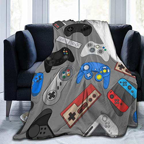 Flannel Plush Novelty Throw Blanket, Video Game Controller Blankets for Better Sleep Chair, Thin Blanket and Comfy Anti-Static 50