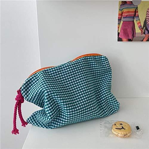 FEANG Bolsa de Cosméticos Mujer Plaid Maquillaje Bolsa de Maquillaje Moda Cotton Zipper Pouch Feminina Monedero Viajes Big Bath Bags Cosmetic Bags Organizador Neceser de Viaje (Color : Green)