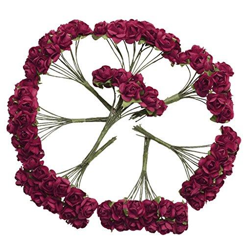 144 Stk. Mini Papier Rose Hochzeit Blumen für Handwerk Hochzeitsbevorzugungskasten (Rot)