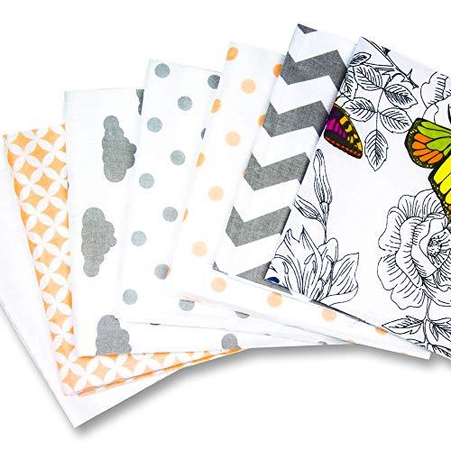 Amazinggirl Tissus Coton pour Couture 14 pièces 20 x 40 cm - Elastique Tissu au Metre Patchwork dans Un Ensemble avec Un Ruban Elastique et Molleton