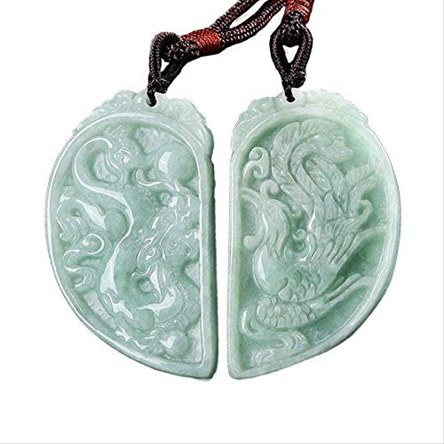 Yiffshunl Collar Mujer Collar Birmania Jade Collar Colgante Collar Fénix y dragón Colgante Joyas para Amantes Hombres S Joyería Mujeres S Joyería