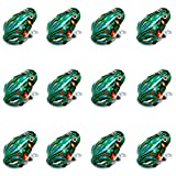 Faxco 12 Pcs Clockwork Spring Frog Toy Green Metal Jumping Frog Interesting Toys