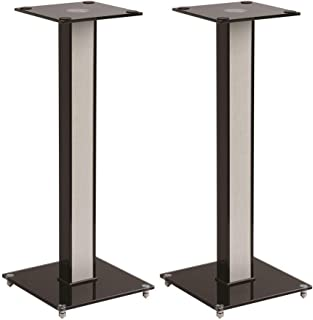 Monoprice Elements Speaker Stand - 28 Inch (Pair) with Cable Management, Strong Tempered Glass Base with Floor Spikes