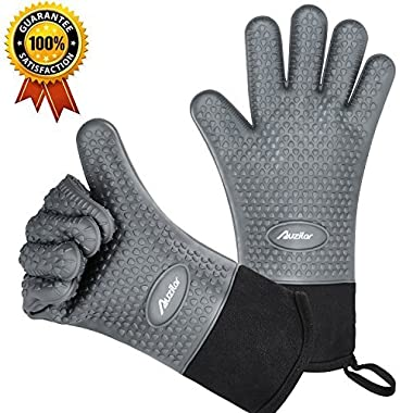 Auzilar Silicone Cooking Gloves, Grilling Gloves, Heat Resistant Gloves BBQ Kitchen Silicone Oven Mitts, Long Waterproof Non-Slip Potholder for Barbecue, Cooking, Baking (Gray)