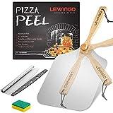 LEWINGO Pala de pizza de metal de aluminio de 30,48 x 35,56 cm, con mango de madera plegable y cortador de pizza de 35,48 cm para regalo, espátula de pizza de fácil almacenamiento para hornear casero