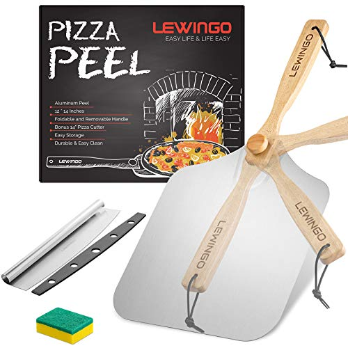 LEWINGO Aluminum Metal Pizza Peel 12 inch x 14 inch, Large Pizza Paddle with Foldable Wood Handle and 14 Inch Pizza Cutter Rocker for Gifting, Easy Storage Pizza Spatula Paddle for Homemade Baking