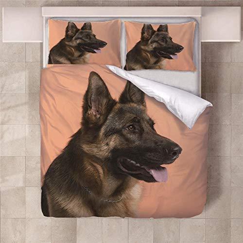 JKCloth Duvet Cover with 2 Pillowcases 3D Printed German Shepherd Bedding Set with Zipper Closure Unique Design Anti-allergic Double Duvet Cover Set Single - 140x200cm