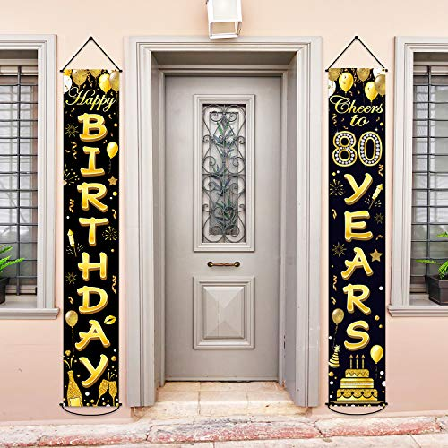 80th Birthday Party Banner Decorations Cheers to 80 Years Banner 80th Party Supplies Black Gold Welcome Porch Sign for Indoor Outdoor(80 Years Birthday)