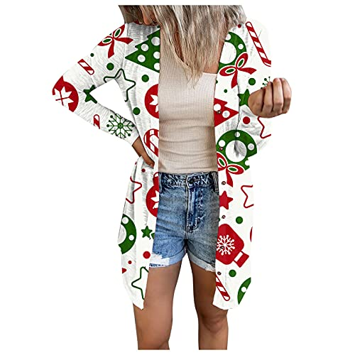 Women's Single Breasted Jacket Christmas Print Long Sleeve Open Front Cardigan Blouse Lightweight Coat White