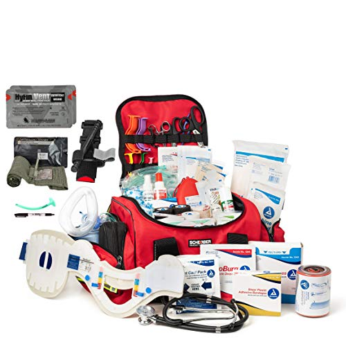 Scherber Fully-Stocked Premium First Responder Bag   Large Professional EMT/EMS Trauma & Bleeding Medical Kit   CAT Tourniquet, HyFin Vent Chest Seal, Israeli Bandage & 250+ First Aid Supplies - Red