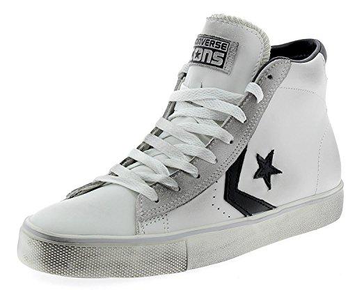 Converse Lifestyle PRO Leather Mid, Scarpe da Ginnastica Basse Unisex-Adulto, Multicolore (Star White/Black/Turtledove 107), 37 EU