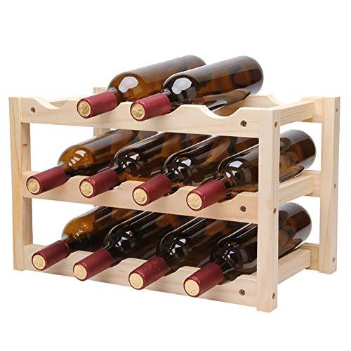 SETSCZY Botellero de madera para botellas con 3 niveles, soporte para botellas para 12 botellas, soporte apilable para botellas de vino, soporte para vino 46 x 24 x 28 cm