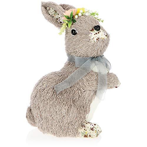 com-four® Deko-Osterhase zur Osterdekoration - Dekofigur für Ostern - Deko-Hase Kaninchen mit Fell aus Fäden (01 Stück - 30cm stehend - grau)