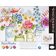 Watercolor floral paint by numbers kit includes high-quality acrylic paints, printed art board, paintbrush, and easy instructions. Completed Rainbow Flower painting measures 14'' x 11'' . Follow the instructions of this easy paint by numbers kit to c...