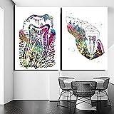 ZYQYQ Cuadros Decoración Salon Arte de pared, odontología, diente Dental, cartel nórdico, pintura de dentista, para de sala de estar, 40x60cmx2 sin marco