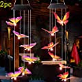 Wind Chimes Butterfly Outdoor Wind Chimes Solar Wind Chimes? Garden Outdoor for Patio Yard Pathway Decor 2 Different Mobile Wind Chimes Colored Butterflies?Purple? red?
