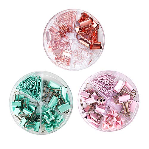 3 Cajas de Juego de Clips con Caja para la Oficina, Pinzas y Chinchetas, Empuje los Alfileres, Pinzas Clips FoldBack, Clips de Papel de Oro Rosa, Clips de Encuadernación, Clips de Papel de Colores