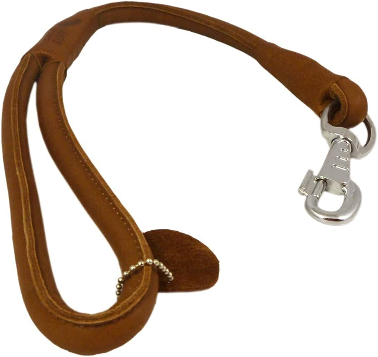 Brown Round Genuine Rolled Leather Dog Short Leash 20  Long 5 8  Wide Lead for Large Breeds