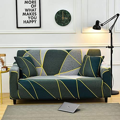 Funda de sofá Funda de sofá elástica con Estampado de Hojas Funda de sofá Todo Incluido sofá Funda de sofá en Forma de L con Diferentes Patrones A23 2 plazas