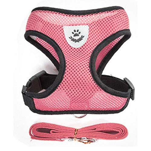 Lanyue Nylon Mesh Cat Harness and Leash Breathable Kitten Cats Harnesses Small Dog Puppy Harness for French Bulldog Chihuahua Pug (Color : Pink, Size : Small)