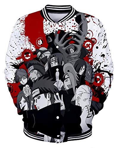 QYIFIRST Herren Bomberjacke Baseballuniform Fliegerjacke Freizeit Uchiha Itachi Deidara Akatsuki Halloween Sweatjacke Mantel Weiß XS (Chest 92cm)