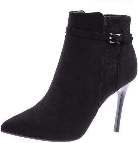 HBDLH Chaussures pour Femmes Martin Bottes Haut De 10 Cm Pointues Daim Bien Talon La Mode La Boucle De Ceinture Coton à Court De Bottes Chaussures.