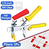 Tile Leveling System, Premium 300 pcs 1/8' Tile Spacers Clips, 100 pcs Reusable Wedges and 1 pc Floor Tiles Pliers for Living Room Shower Floor/Wall Base Tile Leveler Tools for Installation