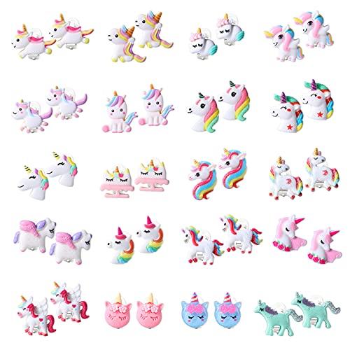 HIFOT 20 Paia Unicorno Orecchini Clip Ragazze, Orecchini Senza Buco design Principessa Gioielli Set Regalo per Bambini Bambino