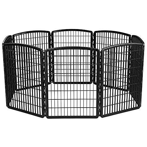 IRIS USA 34'' Exercise 8-Panel Pet Playpen without Door, Black (585605)